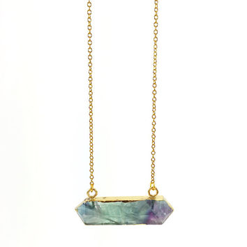 Fluorite Bar Necklace, Purple, Green, Rainbow, Gemstone Necklace, Stone Bar, Horizontal, Healing Crystal, Boho, Point, Pendulum, Gold Chain