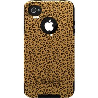 CUSTOM Black OtterBox Commuter Series Case for Apple iPhone 4 / 4S - Beige Tan Brown Cheetah Skin Spots