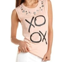 """XOXO"" Embellished Graphic Tank: Charlotte Russe"