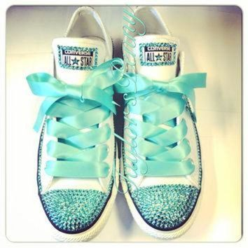 CREYUG7 Women's Custom Bling Converse for bridesmaids - Mint Bedazzled Rhinestones Converse wi