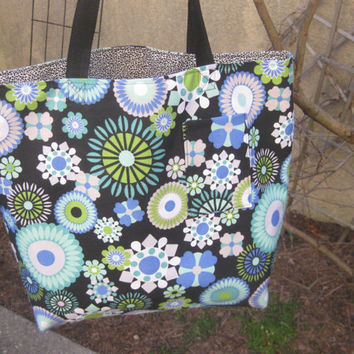 Large Knitting Bag in black teal turquoise blue floral Beach, Books, Bridesmaids,or Diapers REVERSIBLE by Olive Street Studios