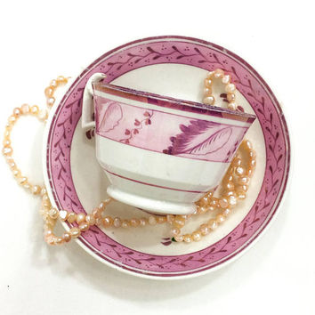 Pink Lusterware Tea Cup and Saucer, Sunderland Georgian Era Porcelain, Mismatched, Flowers & Fruits, 1820s 1830s, Antique English Pearl Ware