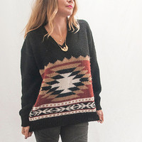 80s Black Southwestern Aztec Patterned Sweater | Womens Vintage Sweaters | So Soft Hippie Hipster Native American Sweater SUPER Comfortable!