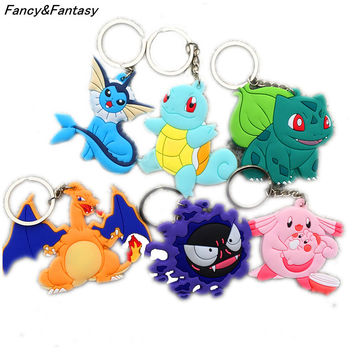 Fancy&Fantasy Multi Style Pokemon Figures Pvc Keychains Anime Pikachu Bulbasaur Gastly Chansey Squirtle Pendant Rubber Keyring