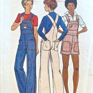 Butterick 3570 Sewing Pattern 70s Retro Overalls Bib Style Coveralls Jumper Boho Hippie Jeans Jumper Shorts Bust 34