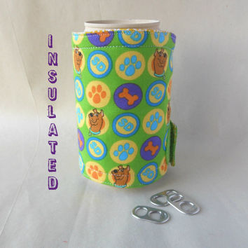 Scooby Doo can or bottle cozy, insulated fabric beer or soft drink coozie, Cartoon Network, snack accessory, for college student, coworker