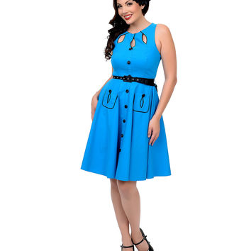 1950s Style Blue Cut Out Flare Dress