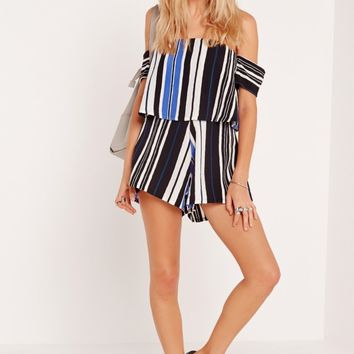 Missguided - Striped Bardot Playsuit Cobalt Blue