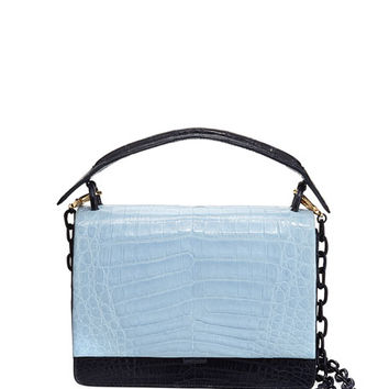 Nancy Gonzalez Bicolor Crocodile Flap-Top Bag
