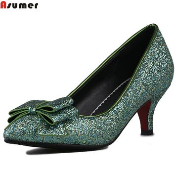 Asumer red fashion spring autumn singleshoes new arrival women pumps pointed toe shallow bling high heels shoes plus size 33-48