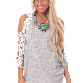 Grey Knit Dolman Top with Crochet Open Shoulders