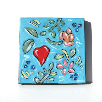 Red Heart Valentine's Day Painting, Original Turquoise Acrylic on canvas, Whimsical home decor