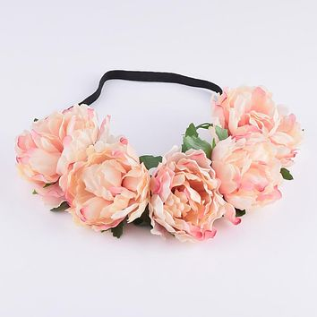 CXADDITIONS Fabric Peony Wildflower Headband Headwrap Elegant Flower Crown Romantic Bridesmaid Floral Crown Boho Rustic Wedding