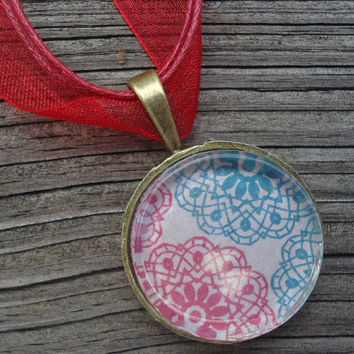 Blue and Red Flowers : A pendant charm necklace made from a glass tile and an Antique Bronze Plated circle bezel