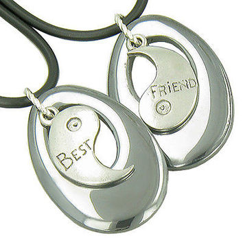 Lucky Best Friends Ying Yang Hematite Gems Friendship Necklaces