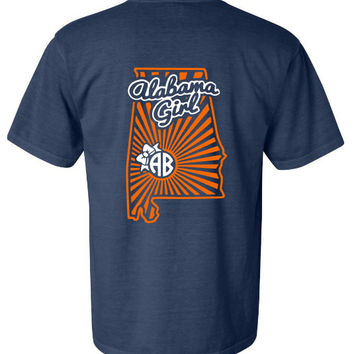 Alabama Girl monogram shirt - Auburn colors