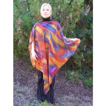 Poncho-Hand Painted Pure Silk Crepe Georgette