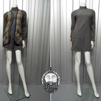 Vintage 60s Mod DOLLYROCKERS Two Piece Mini Dress Grey Wool Shift Dress Plaid Vest High Neck Patch Pockets Tartan Waistcoat 1960s Mod Dress