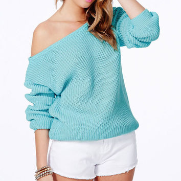 Women Solid Color Long Sleeve Knitted Sweater Loose Knitwear