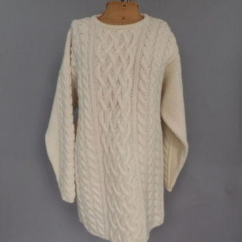 Size XL Vintage Merino Wool Cashmere Sweater Cream White Cable Knit Irish Sweater Ireland Made Aran Crafts Fisherman Sweater Christmas Gift