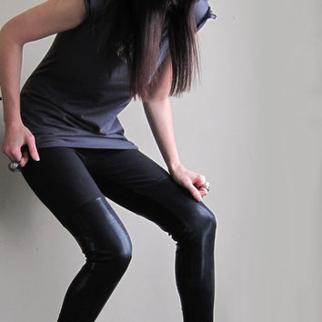 Thigh hi leggings - metallic black shiny spandex, minimalist reptilian pattern  - medium