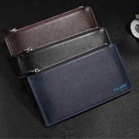 Business Mens Casual Long Leather Fashion Card Holder Zipper Wallet