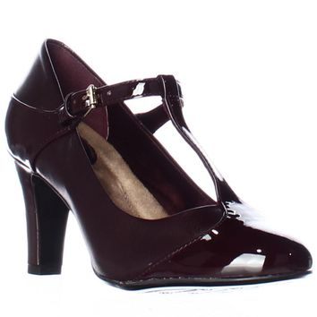 GB35 Vineza Mary Jane Memory Foam Pump Heels, Oxblood, 10 W US