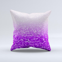 Purple & Silver Glimmer Fade  Ink-Fuzed Decorative Throw Pillow