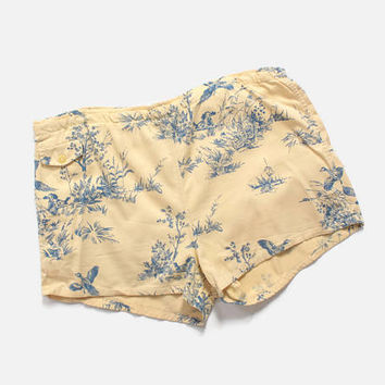 Vintage 50s Novelty Print Trunks / 1950s Men's Swim Shorts Hunting Hound Pheasants L - XL