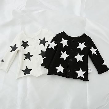 Infant Jacket for Boy Full Sleeve Cotton Spring Baby Five Stars Coat Girls Jacket Star Outerwear Cardigan Kid Children Clothes