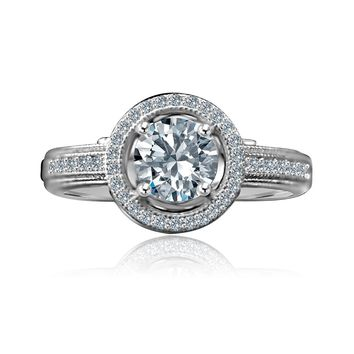 0.75 CT. Intensely Radiant Round Diamond Veneer Floating Micro Pave Halo Engagement/Wedding Sterling Silver Ring. 635R4001