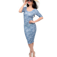 Light Blue Floral Lace Scoop Neck Wiggle Dress