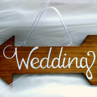Hand lettered hanging rustic wedding sign, hand painted stained wood wedding directional sign, great for beach wedding or garden wedding.