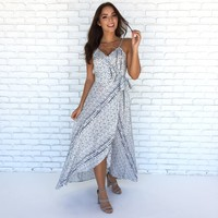 Set Sail Tulip Maxi Dress In Navy Blue