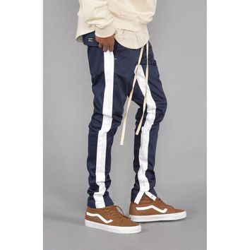 Striped Twill Track Pants (Navy & White)