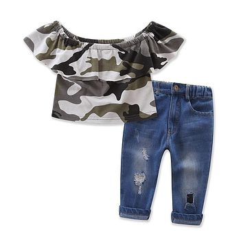 Infant Kids Girl Clothes Sets Off Shoulder Tops Short Sleeve Jeans Denim Pants Outfits Clothing Set Girls Summer
