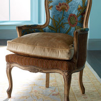 "Old Hickory Tannery - ""Darra"" Teal Chair - Horchow"