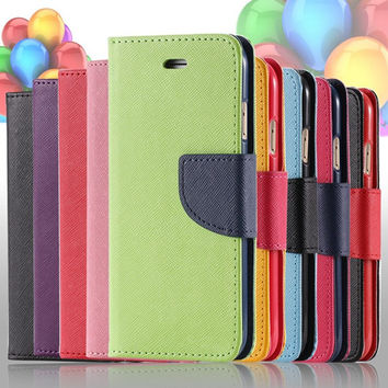 Luxury Flip Leather Phone Cases For iPhone 7 6 6S Plus Case 5 5S SE Card Slot Dual Color Stand Cover For Apple iPhone 6 7 Plus