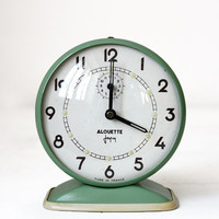 "Lovely vintage French JAPY ""Alouette""  Almond green Alarm CLOCK"