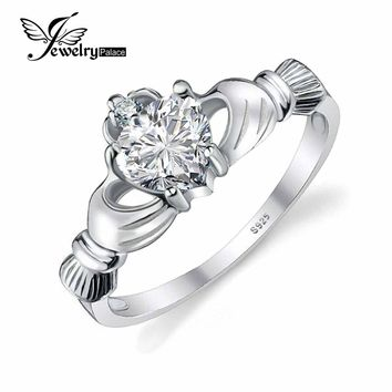 JewelryPalace Heart 0.7ct Irish Claddagh Sona Created Birthstone Promise Ring For Women 925 Sterling Silver Jewelry