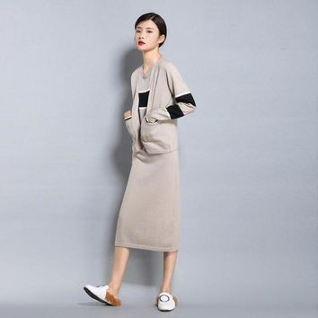 Spring Autumn New Women's Wool Blended Knit Cardigan Short Jacket Loose Fashion Sweater Stripe Color Vest Long Skirt Two Pieces