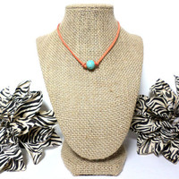 Turquoise orange suede leather choker necklace, turquoise knotted genuine leather, turquoise bead, suede leather cord, gift