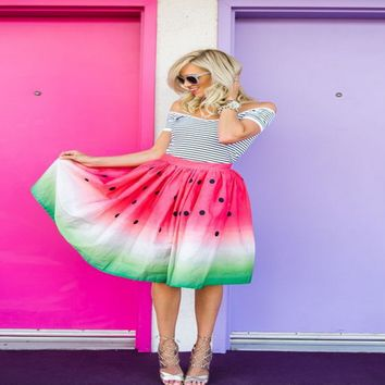 Tie Dye Watermelon Print Skirt  10734