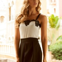 Lipsy Lace Trim Playsuit