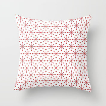 Red Snowflakes Throw Pillow by kasseggs