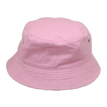 Men Women 100% Cotton Fishing BUCKET HAT CAP Boonie Brim visor Sun Safari PINK