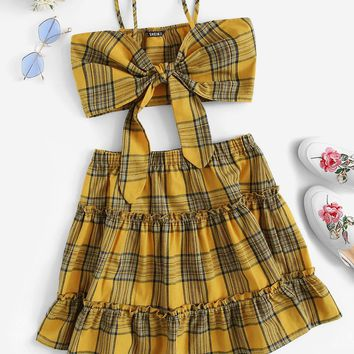 Knot Back Crop Plaid Top and Frilled Skirt Set