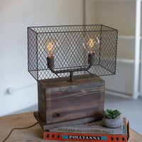Rectangle Recycled Wooden Table Lamp With Wire Mesh Shade
