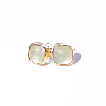 Light Green Prehnite Stud Earrings in Sterling Silver with Gold Brass Bezels- Mint Green Square Studs- Mixed Metal Gemstone Studs