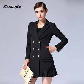 Seamyla 2017 New Fashion Long Sleeve Women Blazers High Quality Notched Double Breasted Gold Button Runway Designer Dress Coat